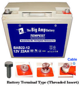 12v 22ah bab22 12 tempest high performance sealed lead. Black Bedroom Furniture Sets. Home Design Ideas